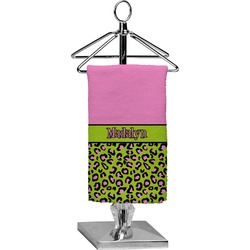 Pink & Lime Green Leopard Finger Tip Towel - Full Print (Personalized)