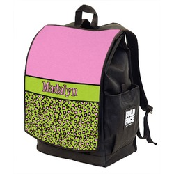Pink & Lime Green Leopard Backpack w/ Front Flap  (Personalized)