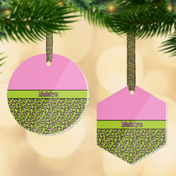 Pink & Lime Green Leopard Flat Glass Ornament w/ Name or Text