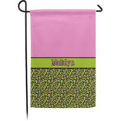 Pink & Lime Green Leopard Garden Flag - Single or Double Sided (Personalized)