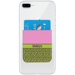 Pink & Lime Green Leopard Genuine Leather Adhesive Phone Wallet (Personalized)