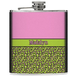 Pink & Lime Green Leopard Genuine Leather Flask (Personalized)