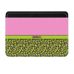 Pink & Lime Green Leopard Genuine Leather Front Pocket Wallet (Personalized)