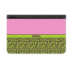 Pink & Lime Green Leopard Genuine Leather ID & Card Wallet - Slim Style (Personalized)