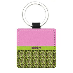 Pink & Lime Green Leopard Genuine Leather Rectangular Keychain (Personalized)