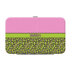Pink & Lime Green Leopard Genuine Leather Small Framed Wallet (Personalized)