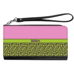 Pink & Lime Green Leopard Genuine Leather Smartphone Wrist Wallet (Personalized)