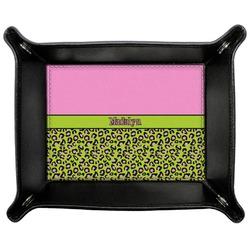 Pink & Lime Green Leopard Genuine Leather Valet Tray (Personalized)