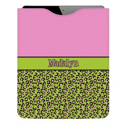 Pink & Lime Green Leopard Genuine Leather iPad Sleeve (Personalized)