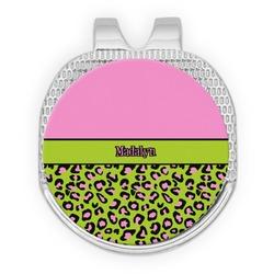 Pink & Lime Green Leopard Golf Ball Marker - Hat Clip