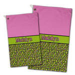 Pink & Lime Green Leopard Golf Towel - Full Print w/ Name or Text