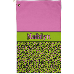 Pink & Lime Green Leopard Golf Towel - Full Print - Small w/ Name or Text