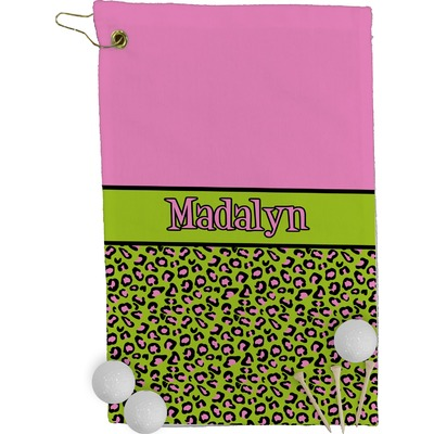 Pink & Lime Green Leopard Golf Towel - Full Print (Personalized)