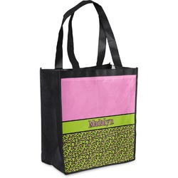 Pink & Lime Green Leopard Grocery Bag (Personalized)