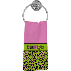Pink & Lime Green Leopard Hand Towel - Full Print (Personalized)