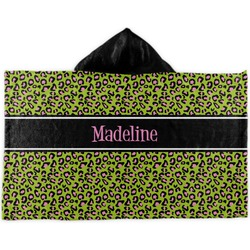 Pink & Lime Green Leopard Kids Hooded Towel (Personalized)