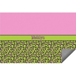 Pink & Lime Green Leopard Indoor / Outdoor Rug (Personalized)