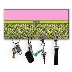 Pink & Lime Green Leopard Key Hanger w/ 4 Hooks (Personalized)