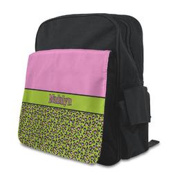 Pink & Lime Green Leopard Preschool Backpack (Personalized)