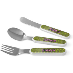 Pink & Lime Green Leopard Kid's Cutlery (Personalized)