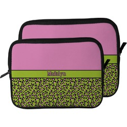 Pink & Lime Green Leopard Laptop Sleeve / Case (Personalized)