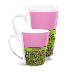 Pink & Lime Green Leopard Latte Mug (Personalized)