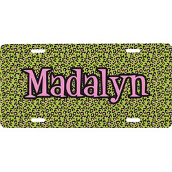 Pink & Lime Green Leopard Front License Plate (Personalized)