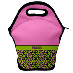 Pink & Lime Green Leopard Lunch Bag w/ Name or Text