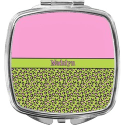Pink & Lime Green Leopard Compact Makeup Mirror (Personalized)