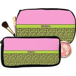 Pink & Lime Green Leopard Makeup / Cosmetic Bag (Personalized)