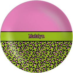 """Pink & Lime Green Leopard Melamine Plate - 8"""" (Personalized)"""