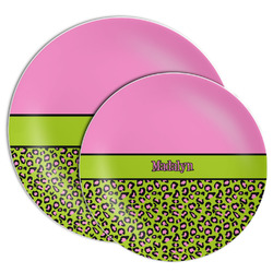 Pink & Lime Green Leopard Melamine Plate (Personalized)
