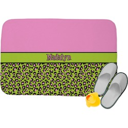 Pink & Lime Green Leopard Memory Foam Bath Mat (Personalized)