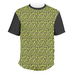 Pink & Lime Green Leopard Men's Crew T-Shirt (Personalized)