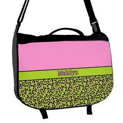 Pink & Lime Green Leopard Messenger Bag (Personalized)