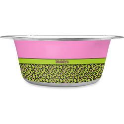 Pink & Lime Green Leopard Stainless Steel Pet Bowl - Medium (Personalized)