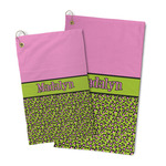 Pink & Lime Green Leopard Microfiber Golf Towel (Personalized)