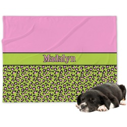 Pink & Lime Green Leopard Minky Dog Blanket - Large  (Personalized)