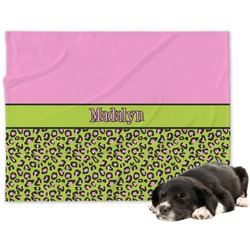 Pink & Lime Green Leopard Minky Dog Blanket (Personalized)