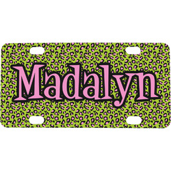 Pink & Lime Green Leopard Mini / Bicycle License Plate (4 Holes) (Personalized)