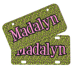 Pink & Lime Green Leopard Mini/Bicycle License Plates (Personalized)