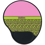Pink & Lime Green Leopard Mouse Pad with Wrist Support