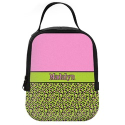 Pink & Lime Green Leopard Neoprene Lunch Tote (Personalized)
