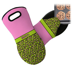 Pink & Lime Green Leopard Neoprene Oven Mitt (Personalized)