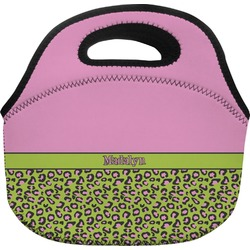 Pink & Lime Green Leopard Lunch Bag (Personalized)