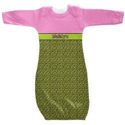 Pink & Lime Green Leopard Newborn Gown - 3-6 (Personalized)