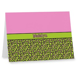 Pink & Lime Green Leopard Notecards (Personalized)