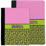 Pink & Lime Green Leopard Notebook Padfolio w/ Name or Text