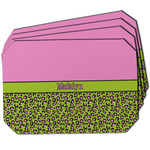 Pink & Lime Green Leopard Dining Table Mat - Octagon w/ Name or Text