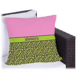 Pink & Lime Green Leopard Outdoor Pillow (Personalized)